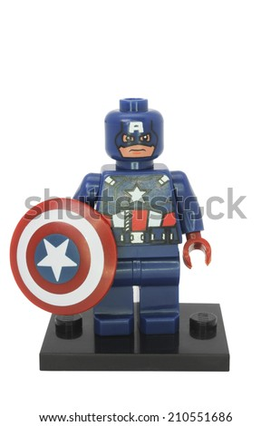 ADELAIDE, AUSTRALIA - August 04 2014:A studio shot of a Captain America Lego Compatible minifigure from the Marvel Comics and Movies. Lego is extremely popular worldwide with children and collectors. - stock photo