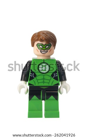 ADELAIDE, AUSTRALIA - February 25 2015:A studio shot of a Green Lantern Lego compatible minifigure from the DC Universe. Lego is extremely popular worldwide with children and collectors. - stock photo