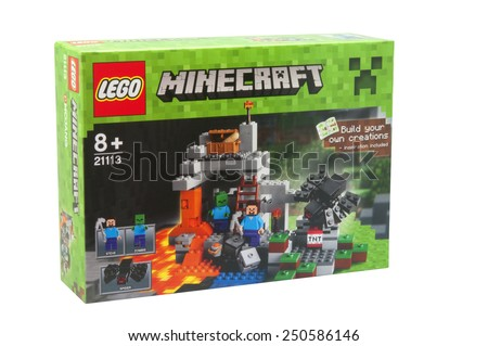 ADELAIDE, AUSTRALIA - January 30 2015:A studio shot of a Minecraft Lego Kit from the popular game. Lego is extremely popular worldwide with children and collectors.