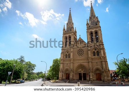 Adelaide, Australia - January 3, 2016: St. Peter's Cathedral of Adelaide on a day, South Australia. View from Pennington Gardens - stock photo