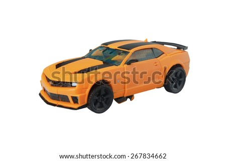 ADELAIDE, AUSTRALIA - March 27 2015:A studio shot of a Bumblebee action figure from The Transformers. Transformers is a worldwide popular animated and movie series worldwide. - stock photo