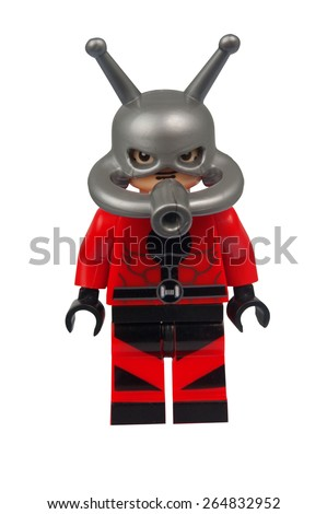 ADELAIDE, AUSTRALIA - March 27 2015:A studio shot of an Ant Man Custom Lego minifigure from the Marvel Comics. Lego is extremely popular worldwide with children and collectors. - stock photo