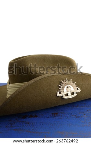 ADELAIDE, AUSTRALIA - MARCH 18, 2015: Australian army soldier slouch hat with Anzac WWI rising star hat badge, with copy space. - stock photo