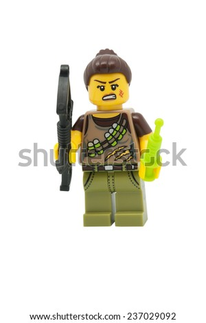 ADELAIDE, AUSTRALIA - November 30, 2014: A studio shot of a Dino Tracker Lego Minifigure from series 12. Lego is very popular with children and collectors worldwide.