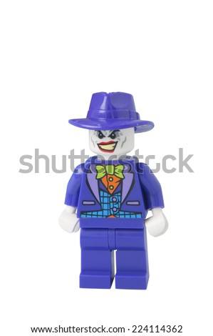 ADELAIDE, AUSTRALIA - October 17 2014:A studio shot of a Joker Lego minifigure from the DC Comics and Movies. Lego is extremely popular worldwide with children and collectors. - stock photo