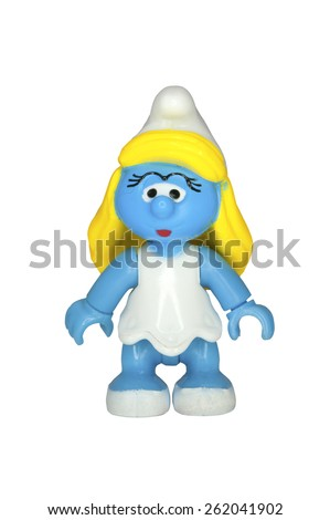 ADELAIDE, AUSTRALIA - September 14 2014:A studio shot of a Smurfette Mega Bloks Figurine from the animated series. The Smurfs are a popular worldwide comic and animated series. - stock photo