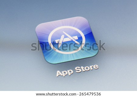 Adelaide, Australia - September 27, 2012: Close-up view of the App Store icon on an iPad - stock photo