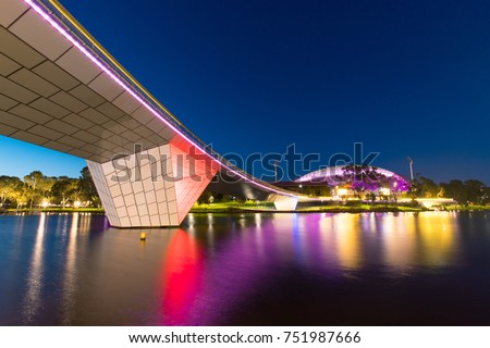 ADELAIDE, AUSTRALIA - SEPTEMBER 30, 2017: View of Adelaide Oval with footbridge at night.
