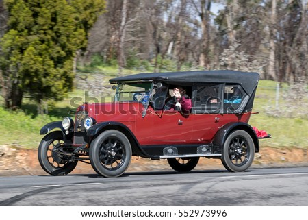 Adelaide, Australia - September 25, 2016: Vintage 1925 Fiat 501 C Tourer driving on country roads near the town of Birdwood, South Australia.