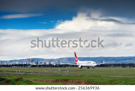 Adelaide, SA, Australia - June 22, 2013: VH-VZV Qantas Boeing 747 is ready to take off from the Adelaide Airport, South Australia - stock photo