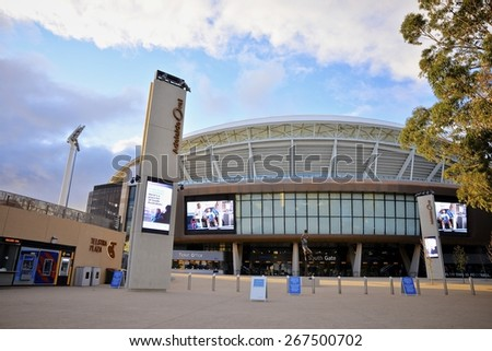 ADELAIDE, SOUTH AUSTRALIA - 14 August 2014: The South Gate entrance to the redeveloped Adelaide Oval which was completed in March 2014. - stock photo