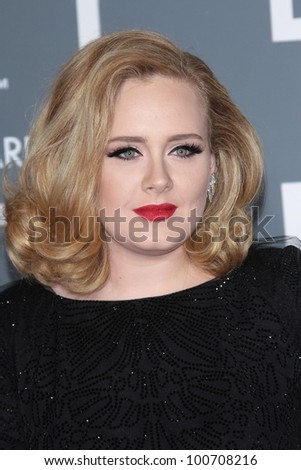 Adele at the 54th Annual Grammy Awards, Staples Center, Los Angeles, CA 02-12-12 - stock photo