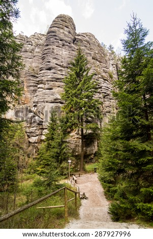 Aderspach sandstone rock city in Czech Republic - stock photo