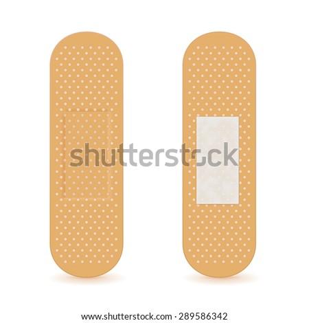 Adhesive bandage. isolated on white background. Raster version - stock photo