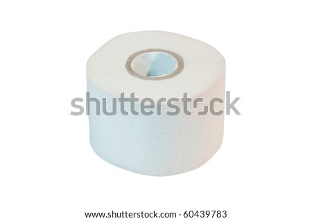 Adhesive bandage (sticking plaster) roll. Isolated on white background with clipping path. - stock photo