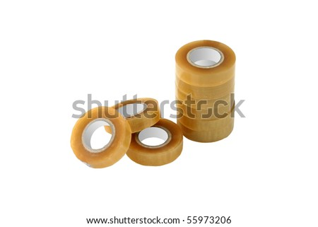 Adhesive tape rolls isolated on white background. - stock photo