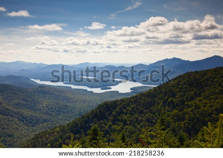 Adirondack mountains forests and lakes landscape view - stock photo