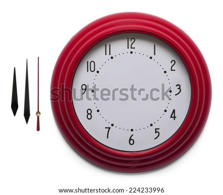 Adjustable Custom Clock Face Isolated on White Background. - stock photo