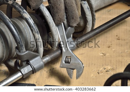 Adjustable spanner (Selective focus) in the automobile shop