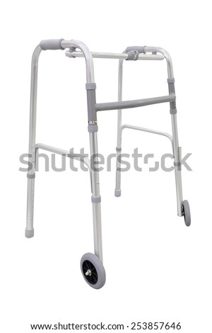 Adjustable walker for elderly, disabled isolated on white - stock photo