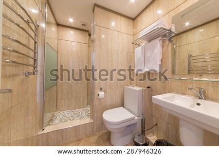 ADLER, RUSSIA - JULY 21, 2014: Interior bathroom of a hotel room in El Paraiso hotel - stock photo