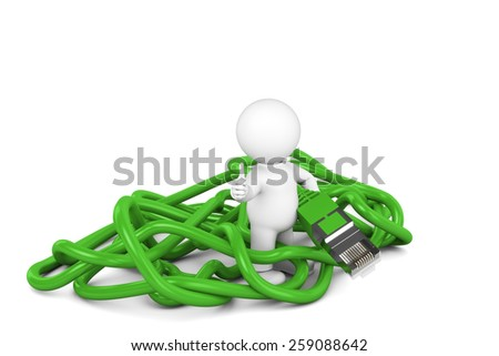 Admin green cable - stock photo