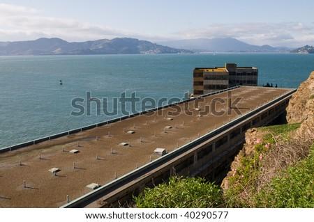 Administration building, Alcatraz Penitentiary, Alcatraz Island, San Francisco Bay, California - stock photo