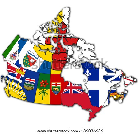 administration map of canada with flags of administrative divisions - stock photo
