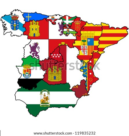 administration map of regions of spain with flags and emblems - stock photo