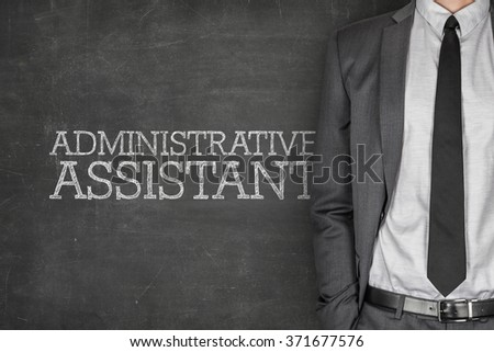 Administrative assistant on blackboard - stock photo