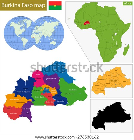Administrative division of Burkina Faso, landlocked country in West Africa - stock photo