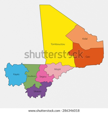 Administrative Division Mali Africa Stock Illustration 286346018