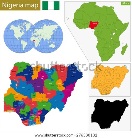 Administrative division of the Federal Republic of Nigeria - stock photo