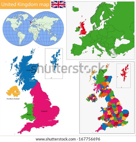 Administrative divisions of United Kingdom - stock photo