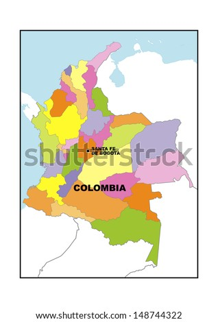 Administrative Map Colombia Stock Photo 148744322 Shutterstock