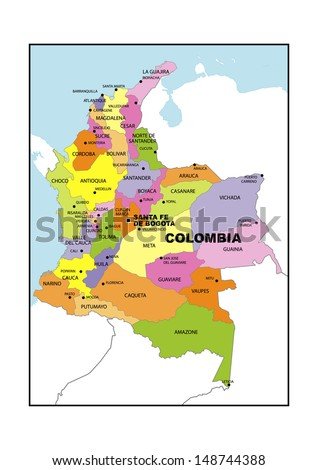 Administrative Map Colombia Stock Photo 148744388 Shutterstock