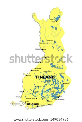 Administrative map of Finland - stock photo