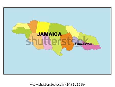 Administrative map of Jamaica - stock photo