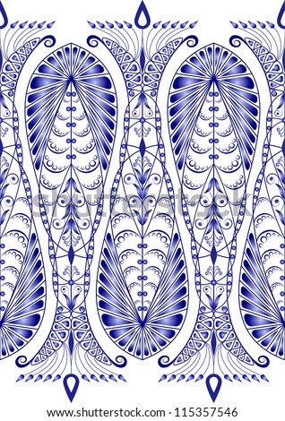 Admirable blue pattern on a white background. Seamless - stock photo