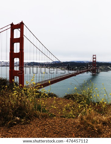 Admiring the Golden Gate from a famous vista point in San Francisco, California.