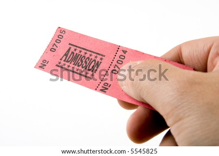Admission ticket being handed over against a white background