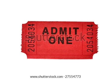 Admission ticket isolated on white background with clipping path. - stock photo