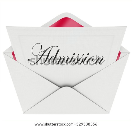 Admission word in script type on a card or letter in envelope for exclusive special access to an event or party