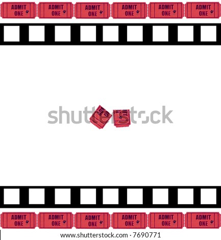 Admit one - cinema tickets and movie film framing a used ticket, which can be removed if required