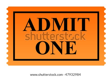 Admit one serrated ticket isolated on white background. - stock photo
