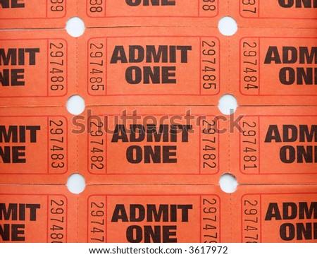 Admit one tickets - stock photo