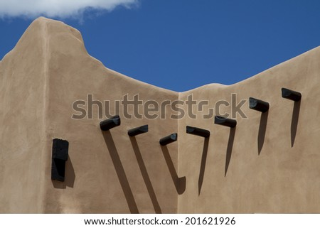 Adobe architecture on the plaza of Santa Fe, New Mexico. - stock photo