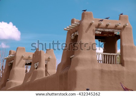 Adobe style buildings in Taos, New Mexico, USA - stock photo