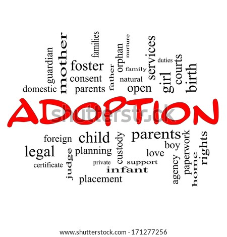 Adoption Word Cloud Concept in red caps with great terms such as baby, parent, rights, love and more.