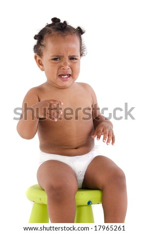 Adorable african baby crying for a tantrum on a white background - stock photo